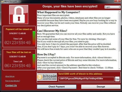 wannacry ransomware warning message